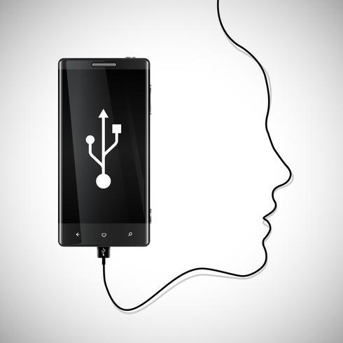 Téléphone portable avec un visage vecteur