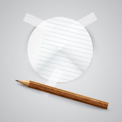 Un morceau de papier avec un crayon, vecteur