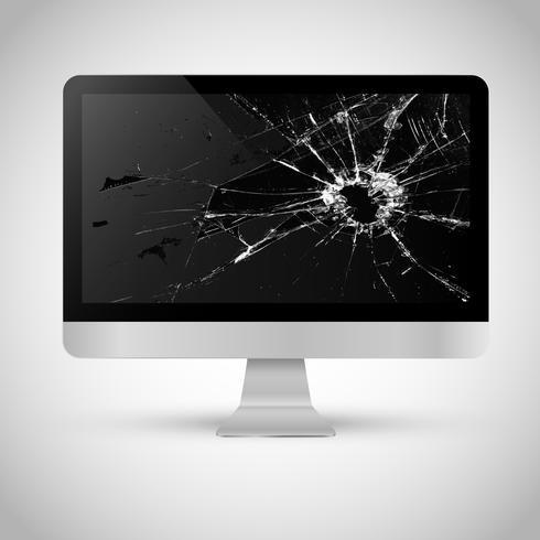 Écran cassé d'un ordinateur vecteur