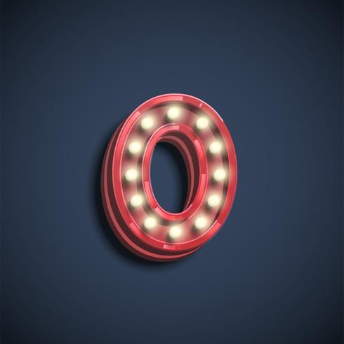 Caractère nombre réaliste avec des lampes, illustration vectorielle vecteur