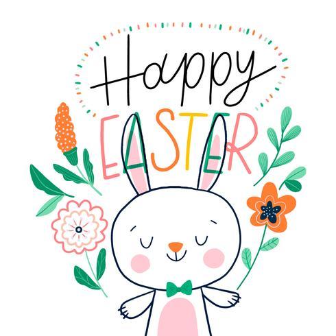 Personnage de lapin de Pâques avec des fleurs orange et lettrage autour vecteur