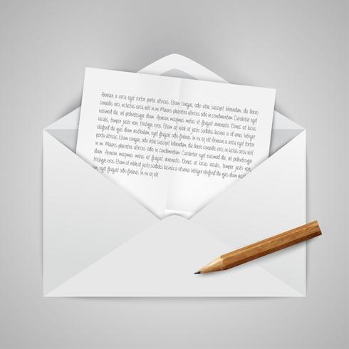 Enveloppe ouverte réaliste avec des papiers et une illustration vectorielle de crayon vecteur