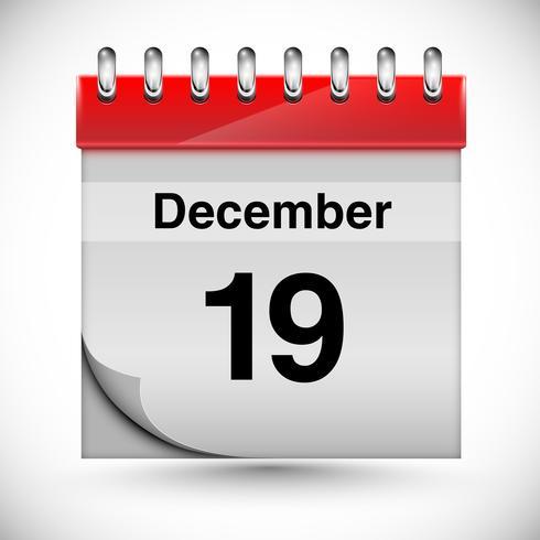 Calendrier pour décembre, vecteur