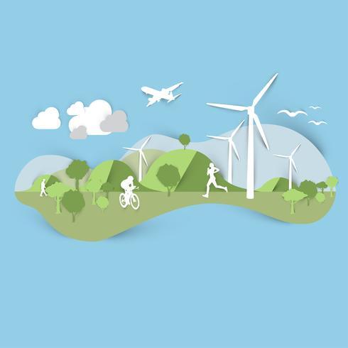 Design de paysage plat avec moulin à vent et sportifs, vector