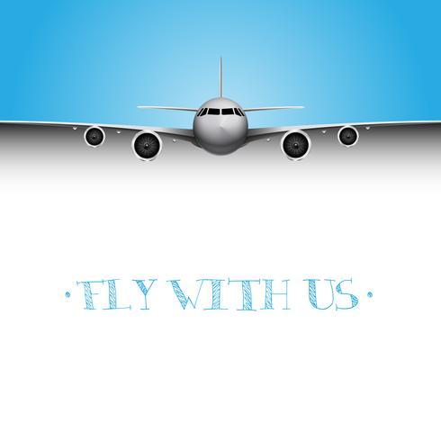 Plan réaliste avec le titre 'Fly with us', flyer de vecteur d'entreprise