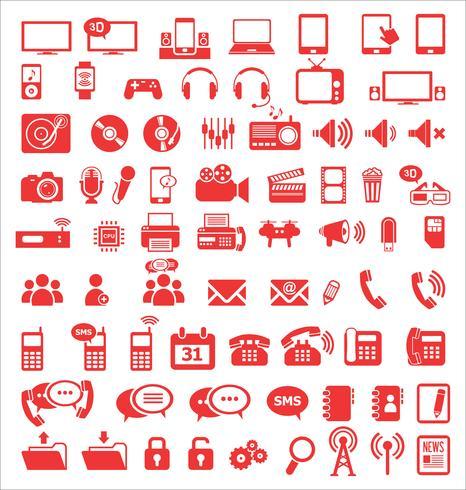 Icônes de médias et de communication vecteur