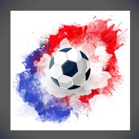 Football de fond 2019 avec ballon de foot et encre rouge et bleu aquarelle vecteur