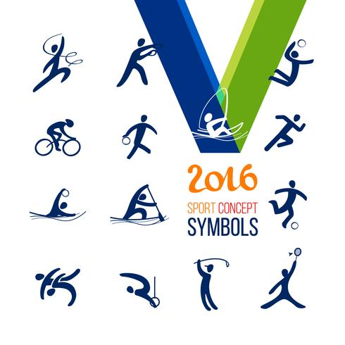 Ensemble d'icônes sportives. Loisirs concept sport symbole. vecteur