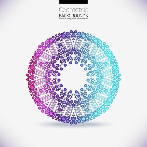 Réseau géométrique abstrait, la portée des molécules, les molécules dans le cercle. vecteur