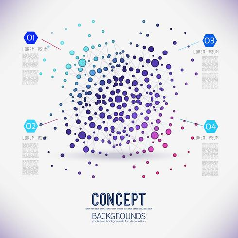 Résumé concept réseau géométrique, la portée des molécules, dans la ronde. vecteur