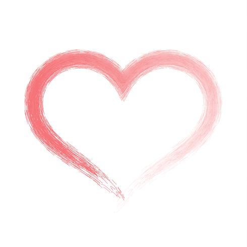 Brosse dessin coeur de calligraphie, isolé sur blanc vecteur