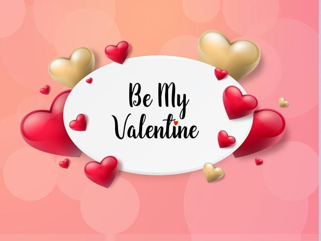 Fond de Valentin avec zone de texte et beaux coeurs. Illustration vectorielle vecteur