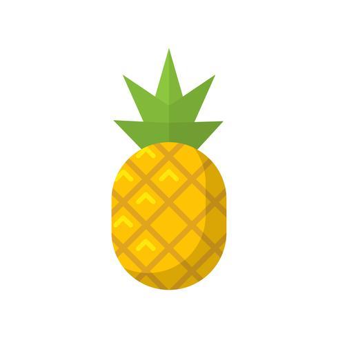 Fruit d'ananas plat isolé icône illustration vectorielle vecteur