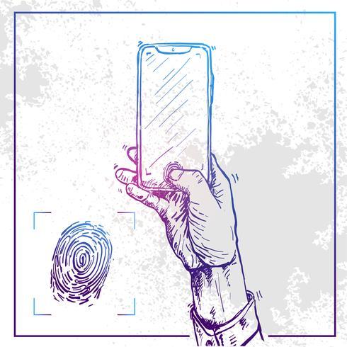 Illustration d'une main tenant un téléphone et faire une empreinte digitale vecteur