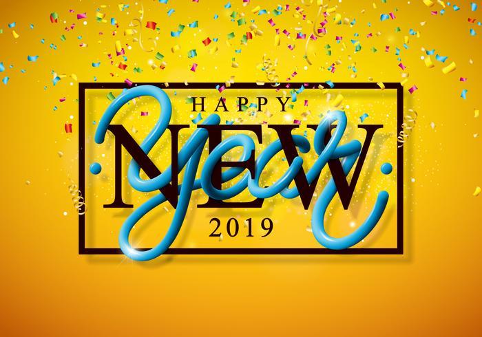 2019 illustration de bonne année avec chute de confettis vecteur