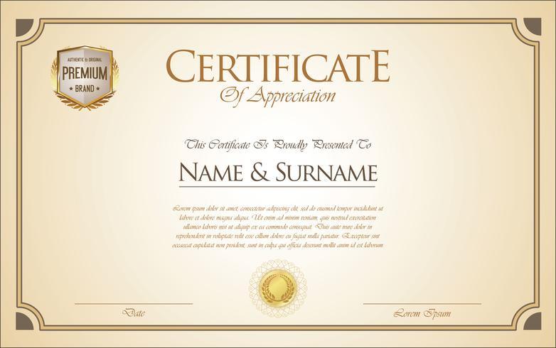 Modèle rétro de certificat ou de diplôme vecteur