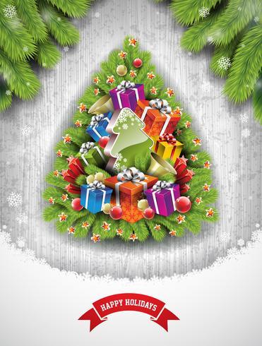 Joyeux Noël illustration avec des éléments de vacances vecteur