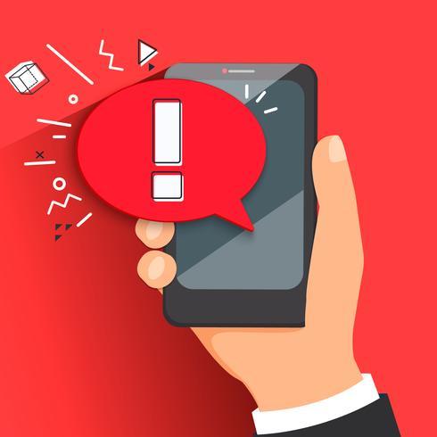 Notion de notification de logiciel malveillant ou d'erreur. vecteur