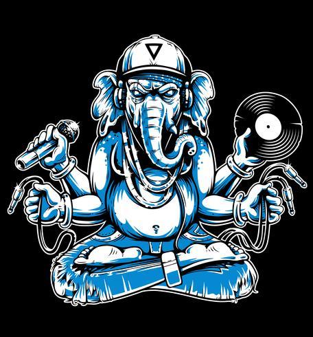 Ganesha avec vecteur d'attributs musicaux