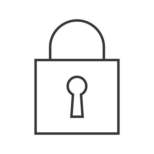 Icône de ligne noire de cadenas fermé vecteur