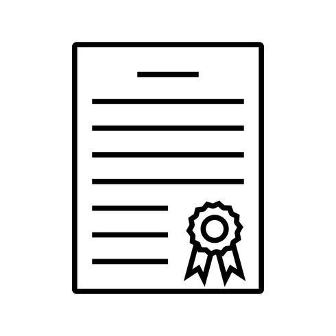 Ligne de diplôme icône noire vecteur