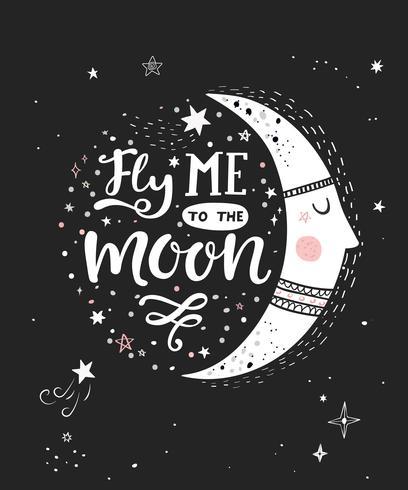 Emmène-moi à l'affiche de la lune. vecteur