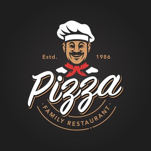 emblème de pizzeria vecteur