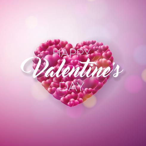 Saint Valentin Design avec coeur rouge sur fond brillant. vecteur