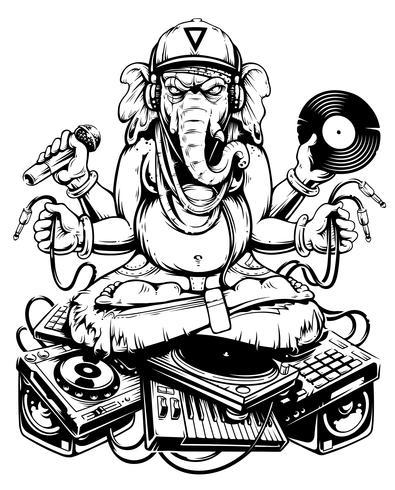 Ganesha Dj assise sur une musique électronique vecteur