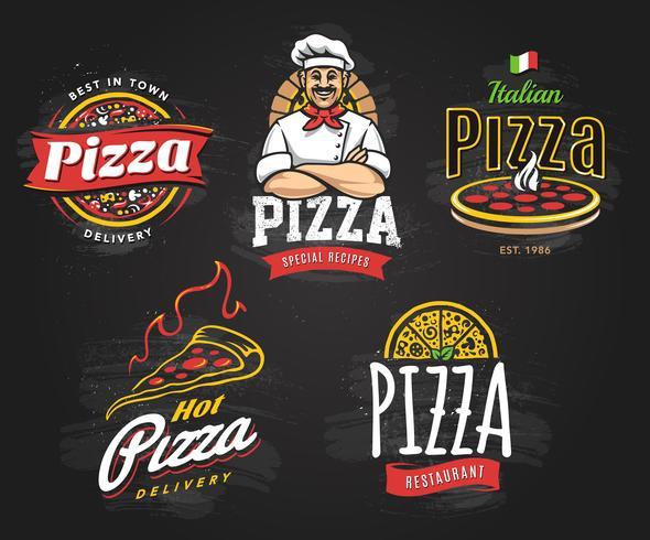 ensemble d'emblèmes de pizza vecteur