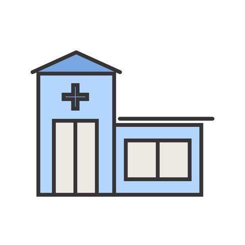Icône de ligne remplie de salle d'urgence vecteur