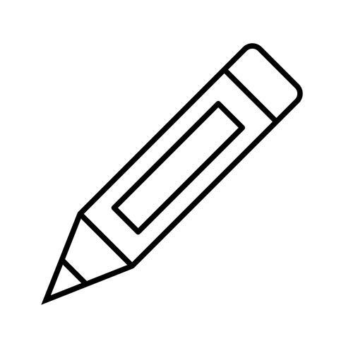 Icône ligne crayon noir vecteur