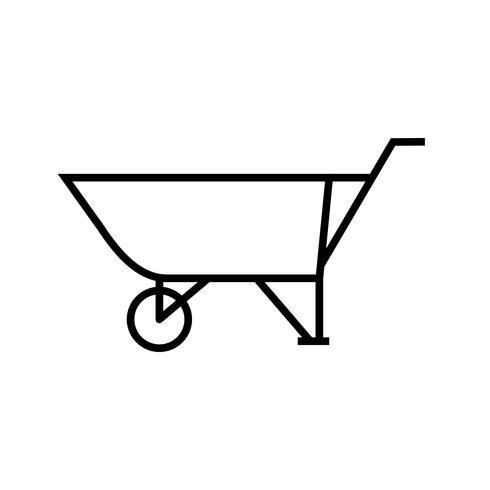 icône de ligne noire brouette vecteur