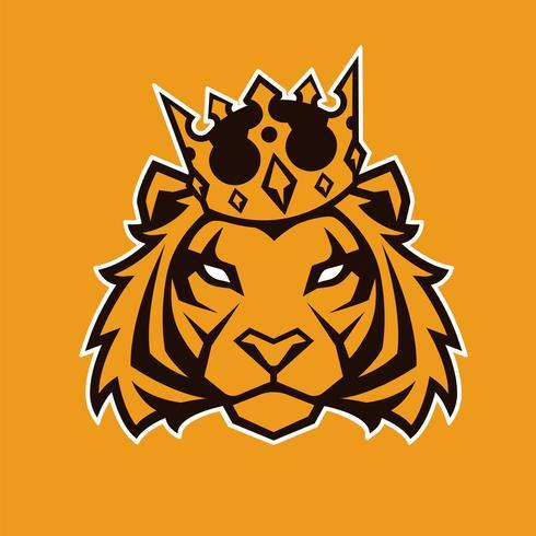 Tigre en mascotte de vecteur de couronne