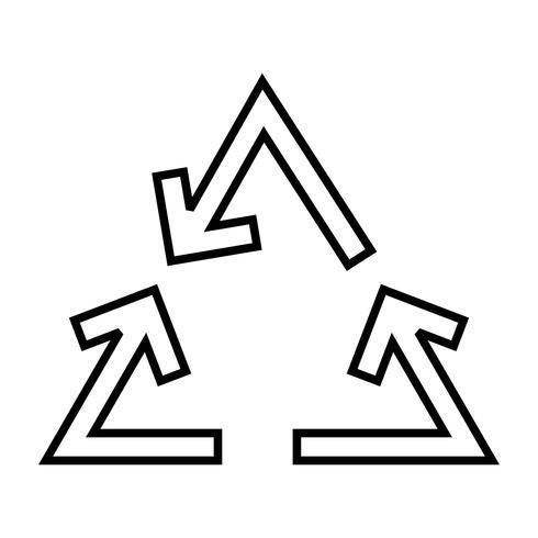Recycler l'icône de la ligne de flèche noire vecteur