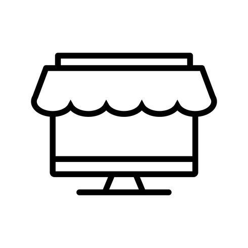 Icône de ligne de magasinage noir vecteur