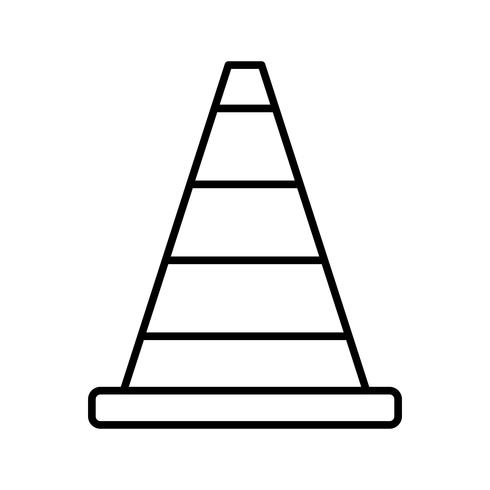 Icône de ligne noire de cône de construction vecteur