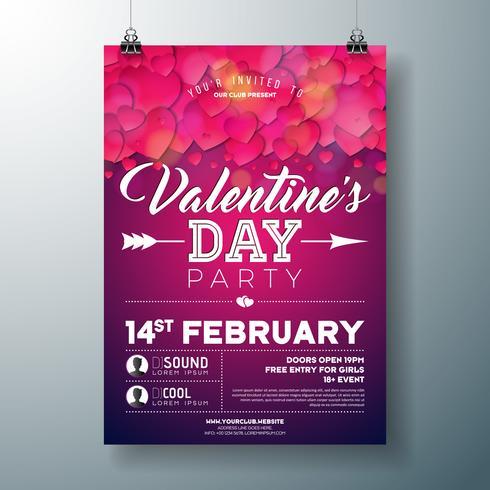 Flyer fête saint valentin vecteur