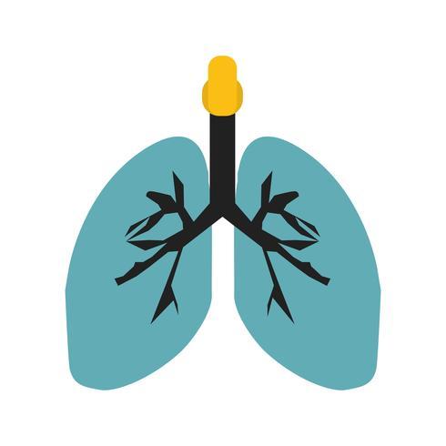Icône multi couleur de poumons plat vecteur