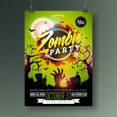 Illustration de flyer fête Halloween Zombie vecteur