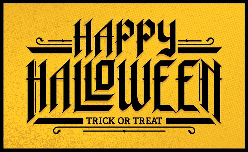 Halloween lettrage gothique dessiné à la main vecteur
