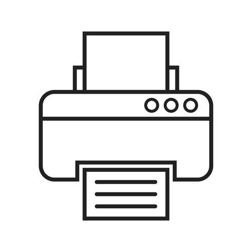 Icône ligne noire imprimante vecteur