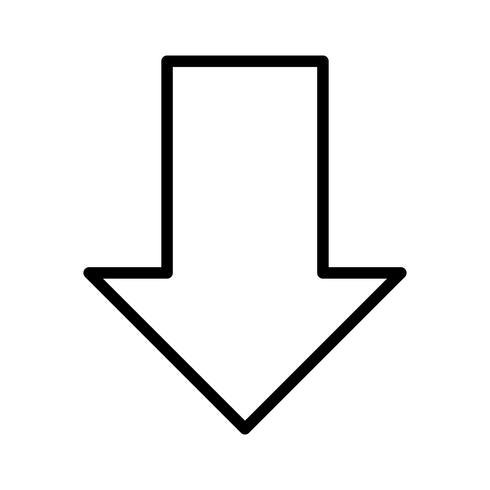 Icône de la ligne noire vers le bas vecteur