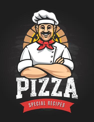 Emblème de vecteur de pizza