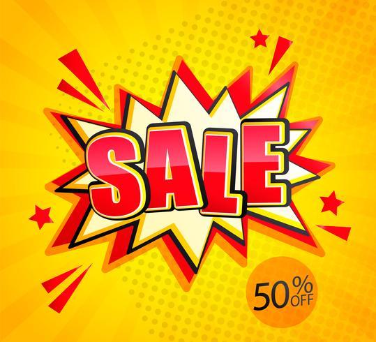 Bannière Sale Boom dans un style pop art, 50% de réduction vecteur