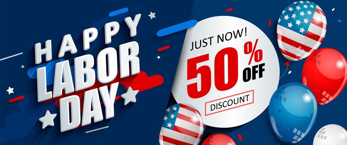 Fête du travail 50 pour cent de promotion de vente. vecteur