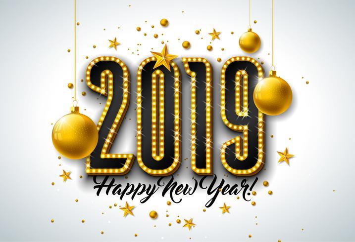 Illustration de bonne année 2019 vecteur