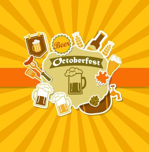 Affiche de la brasserie de bière Vintage Octoberfest. vecteur