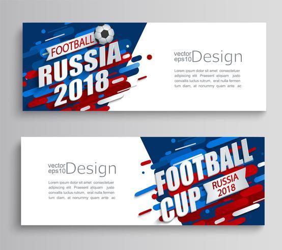 Ensemble de deux cartes modernes d'une coupe de football 2018. vecteur