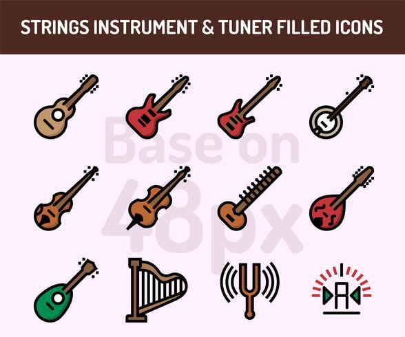 Jeu d'icônes d'instruments à cordes. Contour rempli d'icônes base sur 48 pixels avec pixel parfait vecteur